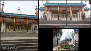 La cupola e i simboli della mezzaluna e della stella sono stati rimossi da una moschea del borgo di Yuecun, nella giurisdizione della città di Xinmi