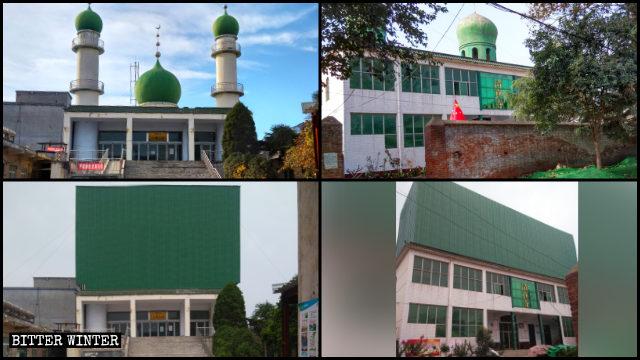 Le cupole e le mezze lune di altre moschee sono stati coperte e ora sembra che sui loro tetti siano state costruite delle casette.