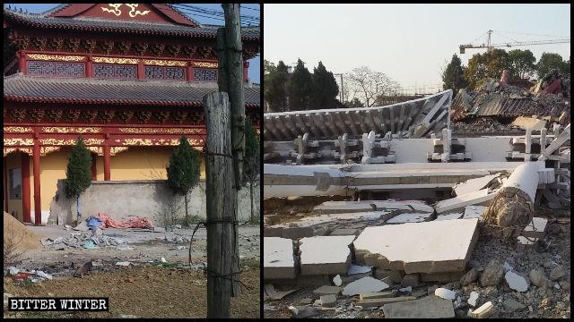La sala principale del tempio di Xi prima e dopo la demolizione