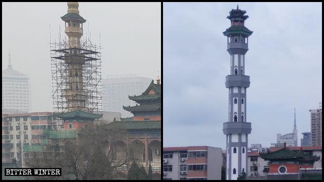 """Il minareto della moschea Beida a Zhengzhou prima e dopo la """"sinizzazione"""""""