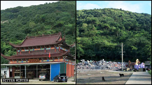 Un tempio taoista a Wenling prima e dopo la demolizione