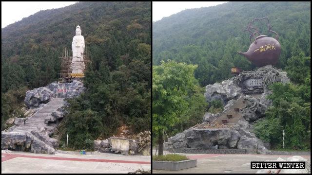La statua della Guanyin Nahai è stata sostituita dalla scultura di una teiera.