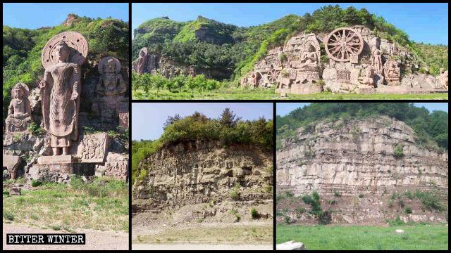 La grande scultura «Luce del buddhismo» è stata distrutta e al suo posto resta solo la nuda roccia