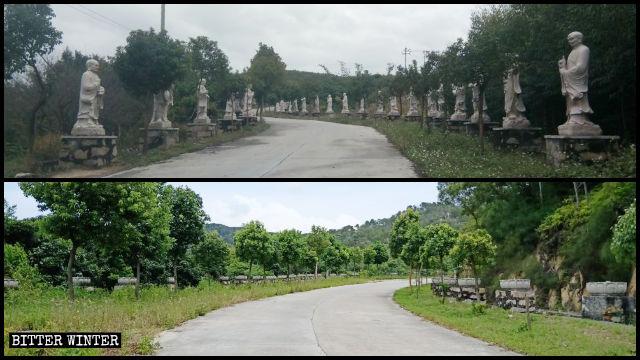 Le statue degli Arhat del tempio Lingjiu collocale lungo il viale dei Pellegrini sono state rimosse