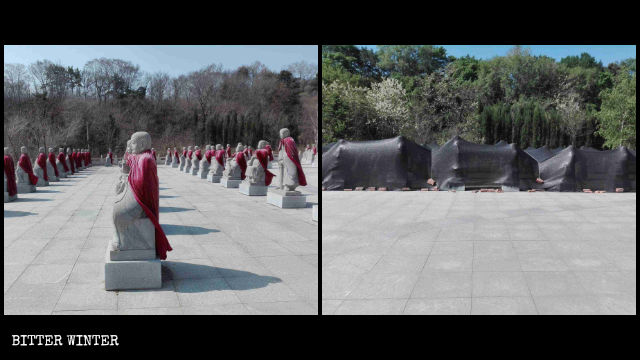 Le 500 statue degli Arhat del tempio Shanyuan nella città di Fushun prima e dopo la rimozione