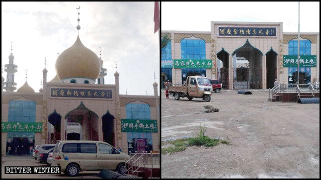 Le cupole e le mezze lune con la stella della Grande moschea Nanfang, nel distretto Yuanzhou di Guyuan, sono state rimosse