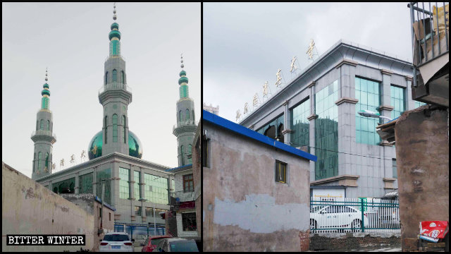 I simboli islamici sono stati rimossi dalla moschea di Jiulong Road situata nel distretto di Yuanzhou della prefettura di Guyuan