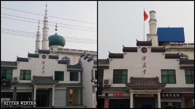 Sulla sommità di una moschea nella contea Boai, amministrata dalla città di Jiaozuo nell'Henan, i simboli islamici sono stati sostituiti dalla bandiera nazionale