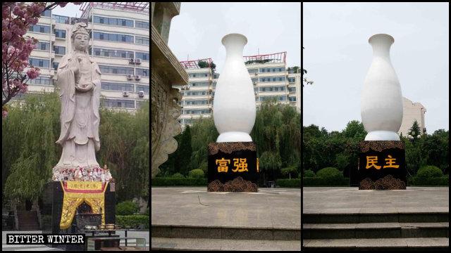 """La statua della Guanyin prima di essere """"imballata"""" in un ampio vaso di vetroresina"""