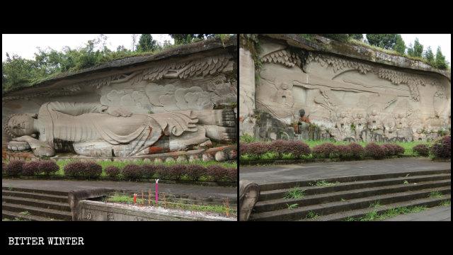 La statua del Buddha disteso sul Monte Lingyun prima di essere coperta