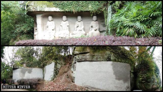 Ventiquattro statue degli Arhat sono state nascoste dietro muri di mattoni