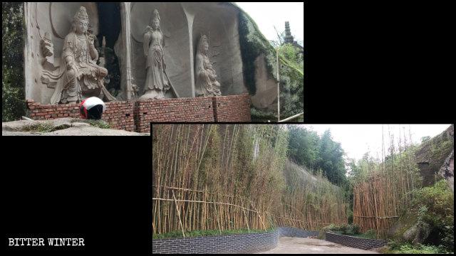 Trentatré sculture della Guanyin che si trovavano della zona panoramica sono state nascoste alla vista dei visitatori