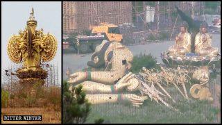 Demolite due colossali statue all'aperto della Guanyin