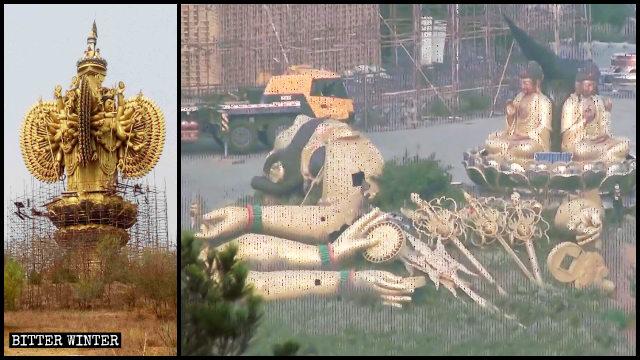 Le parti rimosse dalla statua della «Guanyin Bodhisattva dalle mille braccia»