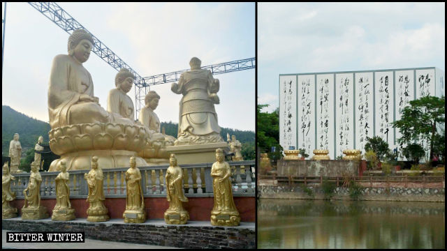 Le grandi statue buddhiste all'ingresso della zona panoramica sono state celate dietro lamiere di ferro zincato