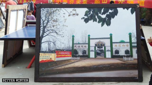 """Un dipinto a olio raffigura l'aspetto della moschea prima che fosse """"rettificata"""""""