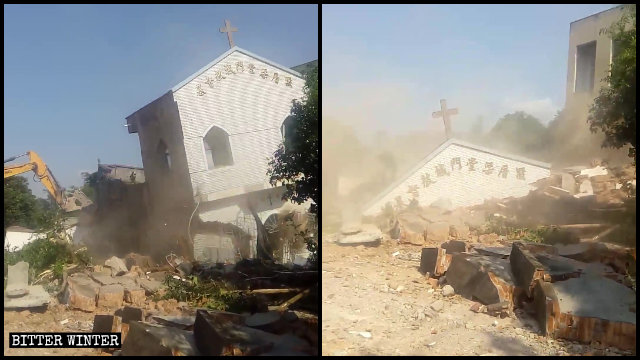 Una chiesa delle Tre Autonomie del villaggio di Liangcuo è stata demolita ed è crollata, finendo in macerie