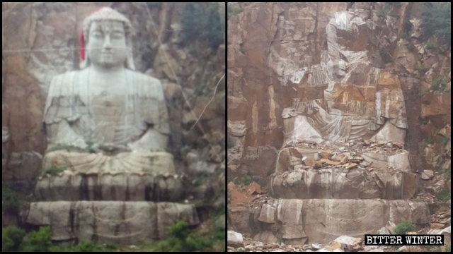 La scultura incompiuta dello Sakyamuni distrutta a metà giugno