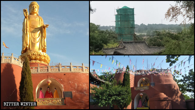 La statua del Buddha nel tempio di Longxing era stata coperta ma non è sfuggita alla demolizione