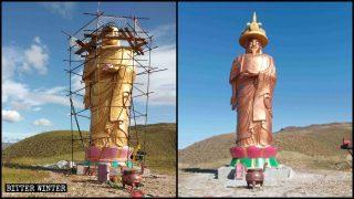 La testa della statua del Buddha Amitabha è stata sostituita con quella dell'imperatore Kangxi