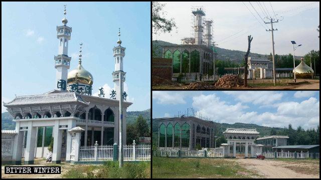 Gli elementi architettonici islamici sulla sommità di una moschea nel villaggio di Tuanju sono stati demoliti