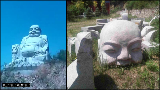 La statua di Buddha di Baiqi, prima e dopo la demolizione