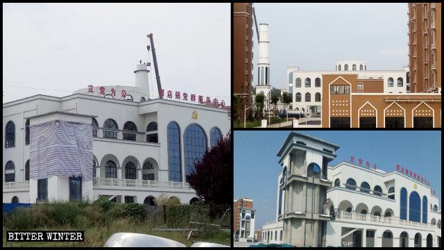 Distrutti i minareti della moschea del borgo di Guodian