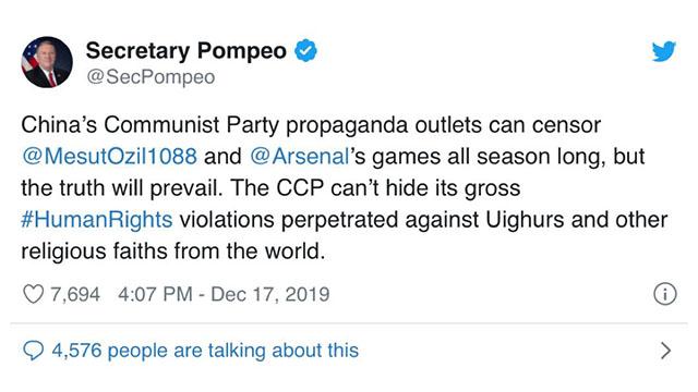 Il segretario di Stato degli Stati Uniti d'America, Mike Pompeo, ha espresso il proprio sostegno a Özil su Twitter