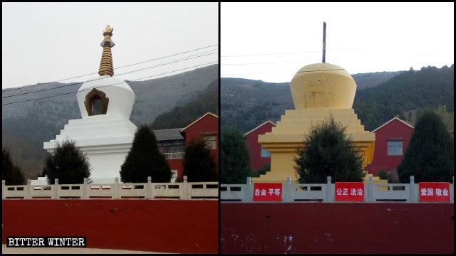 In agosto gli stupa del tempio di Shengquan sono stati dipinti di giallo e i loro pinnacoli d'oro rimossi