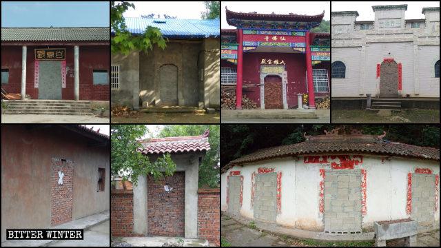 Molti templi nella provincia dell'Hubei sono stati completamente sigillati