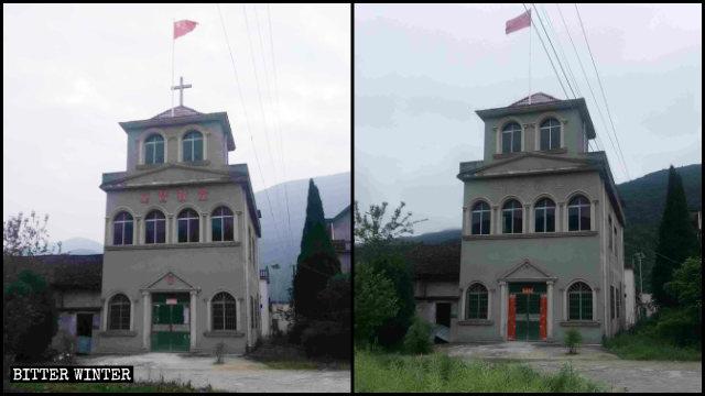 Una chiesa delle Tre Autonomie prima e dopo la rimozione della croce e delle parole «Chiesa cristiana»