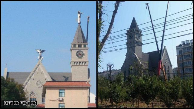 Le statue di Gesù benedicente e di due angeli sono state rimosse dal tetto della chiesa