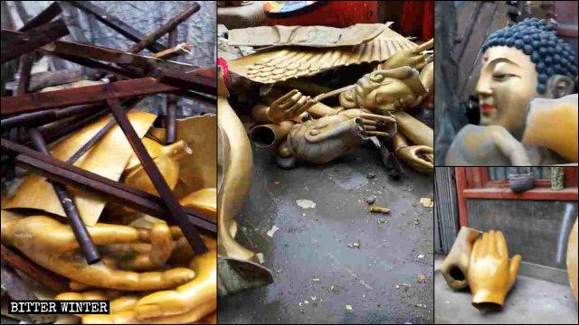Le statue demolite vengono trascinate via, lasciandosi dietro soltanto detriti
