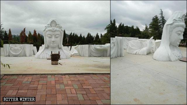 La statua della Guanyin del tempio Huayan è stata sezionata in sette parti