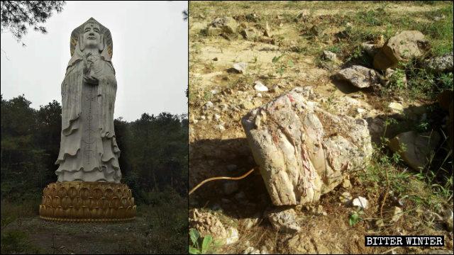 La statua maschile di Guanyin, alta 21 metri e collocata all'aperto, è stata demolita
