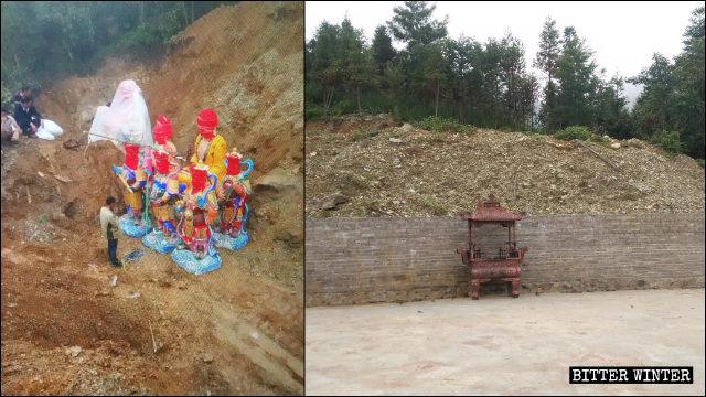 La collina dove sono state seppellite le statue provenienti dalla località turistica