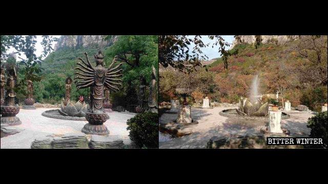 Gli otto protettori buddhisti dei dodici segni zodiacali sono stati demoliti
