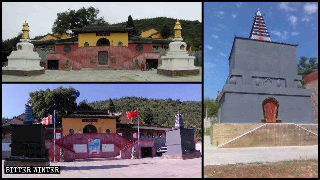 Le due torri tibetane bianche del tempio di Jinding sono state dipinte in grigio