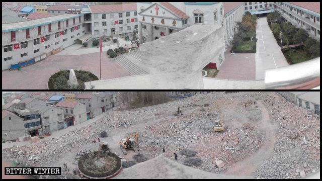 La chiesa delle Tre Autonomie della contea di Yuanyang è stata rasa al suolo