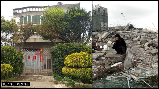La casa di Cai ridotta in macerie il 26 novembre