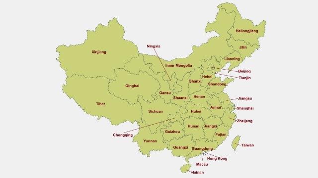 Mappa geografica della Cina
