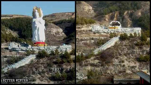 La statua a tre facce della Guanyin prima e dopo la demolizione