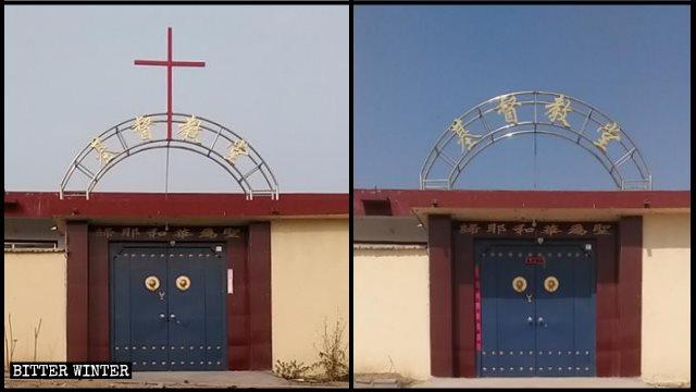 è stata rimossa la croce di una chiesa