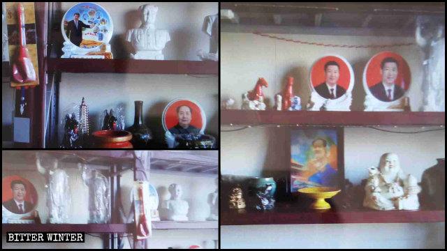 Statue e ritratti di Mao e Xi