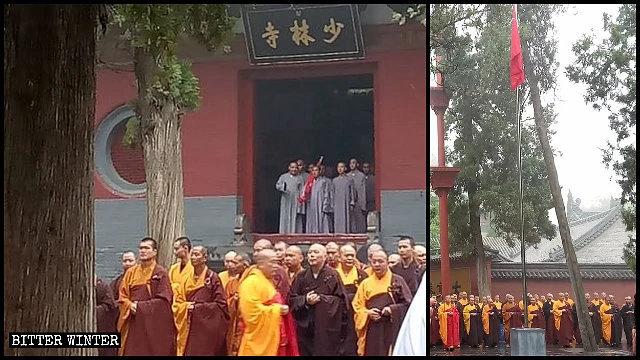 I monaci del tempio Shaolin allineati