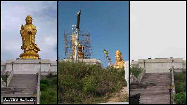 La statua della Guanyin in cima