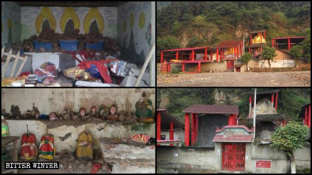 distrutte statue buddhiste di varie dimensioni