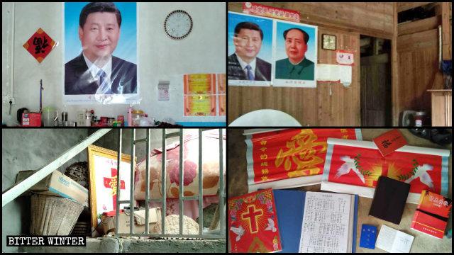 Le immagini di Xi Jinping e Mao Zedong