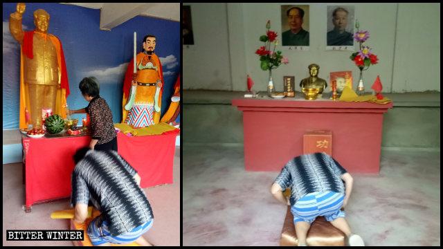 Gente che prega nel tempio della Divinità Celeste Mao Zedong