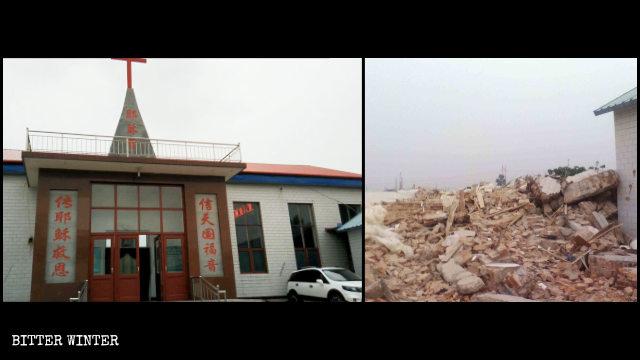 Una Chiesa delle Tre Autonomie distrutta